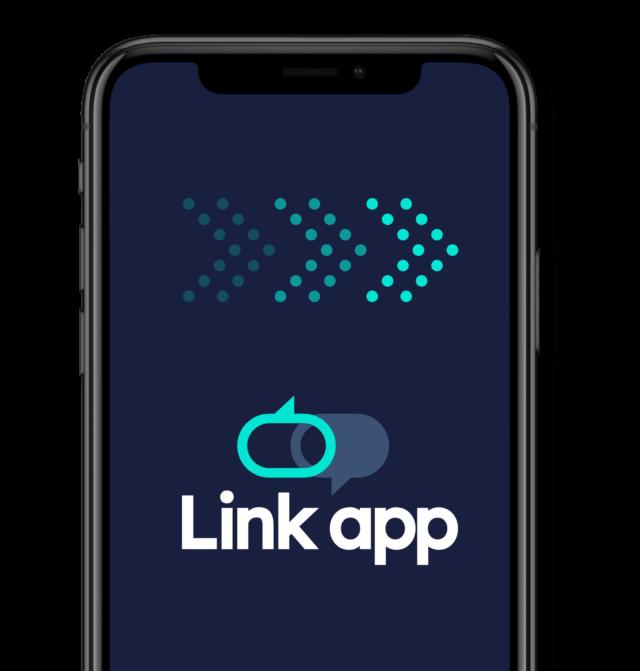 The Link App logo on mobile