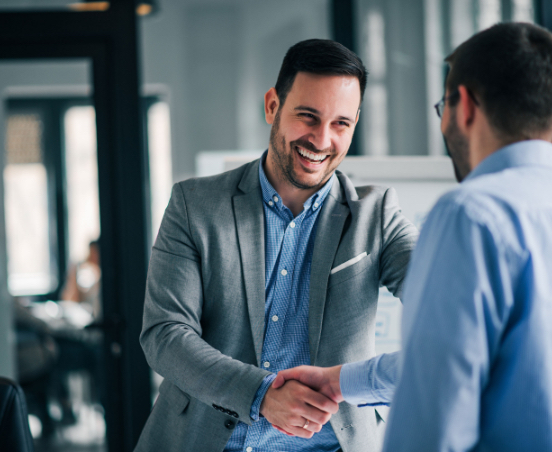 improved client experience - happy client lawyer shaking hands